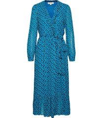 bicolr 60s flrl drs knälång klänning blå michael kors