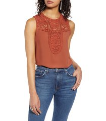 women's halogen lace & crepe top, size medium - orange