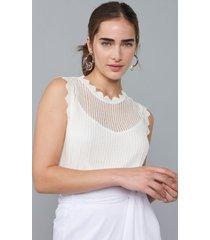 regata amaro de tricot com lurex deatlhe bordas off-white - branco - feminino - dafiti