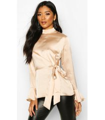 satin high neck wrap frill sleeve blouse, champagne