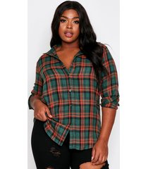 brushed flannel oversized shirt, green