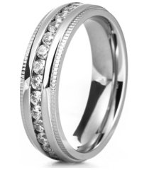 eve's jewelry men's silver tone cubic zirconia engravable eternity band ring with milgrain edge