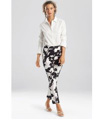 natori anemone garden pants, women's, black, cotton, size 2 natori