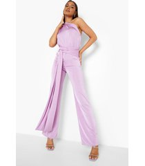gerecyclede strakke asymmetrische wide leg jumpsuit, lilac