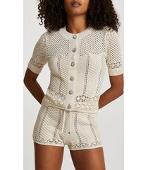 river island womens cream summer stitch cardigan