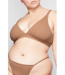 women's skims fits everybody triangle bralette, size large - brown