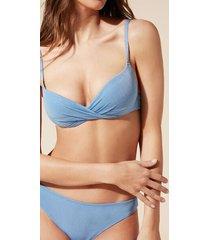 calzedonia irene push-up bikini top woman blue size 4
