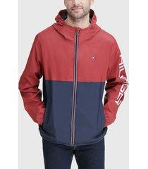 chaqueta tommy hilfiger nylon colorblock jacket rojo - calce regular