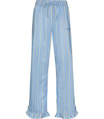 ganni vertical-stripe pajama trousers - blue