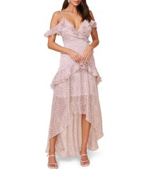 women's astr the label high/low tiered ruffle maxi dress, size large - brown