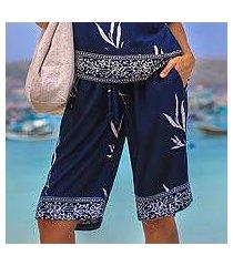 rayon batik shorts, 'midnight fall' (indonesia)