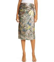 women's le superbe paradise floral sequin wrap skirt