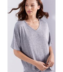 n-trance v-neck top pajamas, women's, grey, size s, n natori