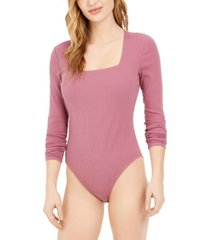 bar iii ribbed square-neck bodysuit, created for macy's