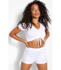 petite geplooide pyjama set met shorts, wit