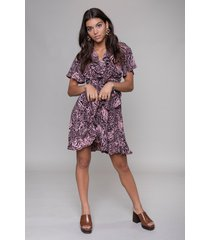 colourful rebel 10315 telsi zebra shortsleeve real wrap dress pink-
