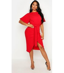 angel sleeve belted wrap midi dress, red
