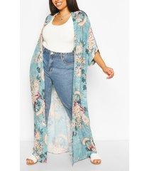 plus oriental floral maxi kimono, sage