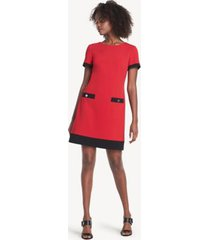 tommy hilfiger women's essential short-sleeve dress scarlet/black - 2