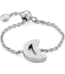 sterling silver alphabet moon adjustable friendship diamond ring diamond