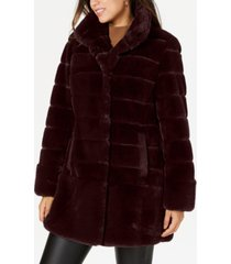 jones new york stand-collar faux-fur coat