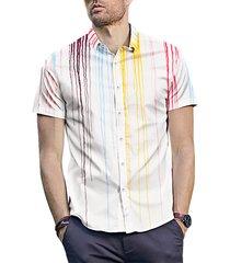 hombre trendy splash print street style casual manga corta blanco camisa