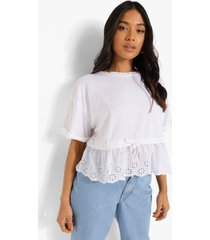 petite broderie t-shirt met geplooide taille, white