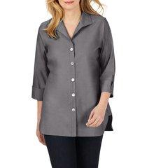 women's foxcroft pandora non-iron cotton shirt, size 18 - grey