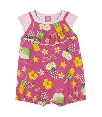 conjunto blusa + macaquinho kinha em meia malha e cotton alto verão rosa médio