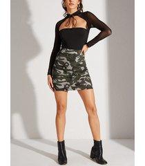 yoins falda de camuflaje verde militar