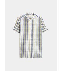 camisa cuadros multicolor lino
