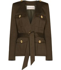 alexandre vauthier belted v-neck patch pocket blazer - green