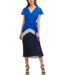 dkny pleated-skirt midi dress