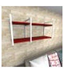 prateleira industrial para sala aço preto prateleiras 30 cm vermelho escuro modelo indb19vrsl