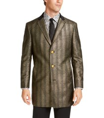 tallia men's slim-fit black & gold herringbone overcoat with velvet trim