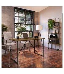 mesa office + estante industrial multiuso steel wood trevalla preto/amadeirado
