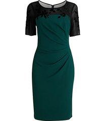 velvet appliqué crepe sheath dress