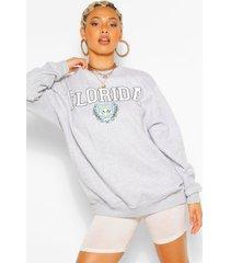 extreme oversized sweatshirt met florida slogan, grijs gemêleerd