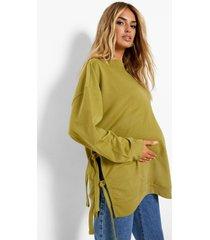 zwangerschap gerecyclede borstvoeding sweater met zijstrikjes