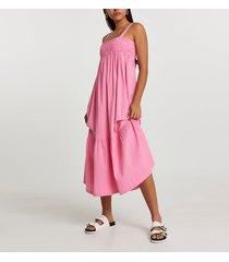 river island womens pink midaxi shirred parachute beach dress