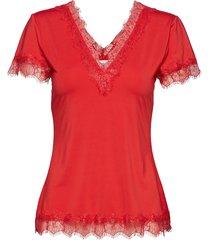 t-shirt ss blouses short-sleeved röd rosemunde