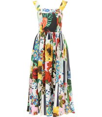 dolce & gabbana patchwork poplin midi dress