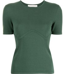 dion lee underwire-detail t-shirt - green