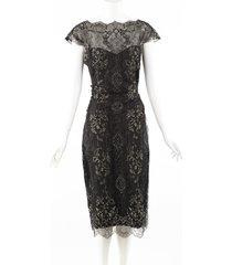 monique lhuillier black gold lace midi sheath dress black/gold sz: xl