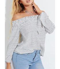 yoins blusa de manga larga con hombros descubiertos y rayas blancas