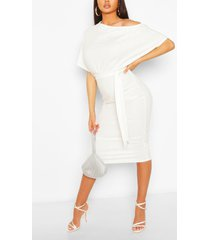batwing ruched side midi dress, white