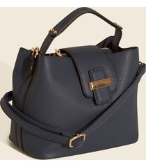 bolso de mano cuadrado pequeño. azul uni