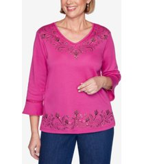 alfred dunner petite panama city studded 3/4-sleeve top