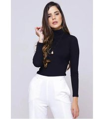 blusa sob gola alta preta manga longa justa canelada viscose feminina