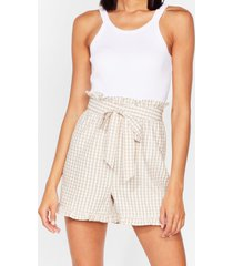 womens gingham a call belted paperbag shorts - stone